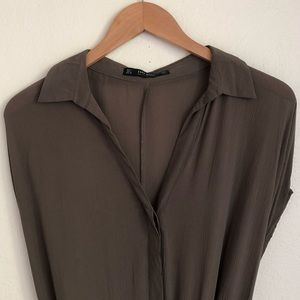 ZARA Long Tunic with Slits Dress Olive sz L